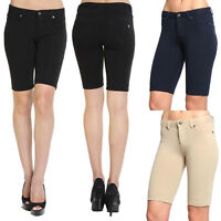 Themogan S~3X Basic Stretch Skinny Bermuda Long Shorts Womens Girls Jeggings