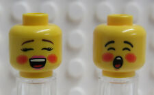 Lego Minifig Head Christmas Holiday Carolers boy and girl pair - New
