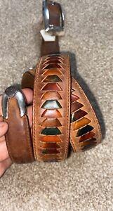 orvis Leather belt Western Style Belt Silver Buckles Woman's ?