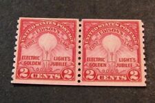 Us Stamp Scott# 656 Edison's First Lamp 1929 Pair Mnh L180
