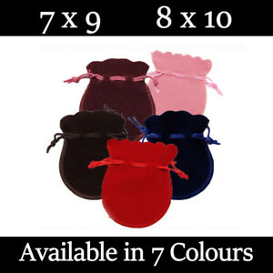 Small Oval Velvet Gift Pouches Wedding Bag Jewellery Pouch 6 Colours & 2 Sizes
