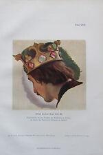 Alfred Rethel KOPF OTTO III. Farbenstudie Originaldruck aus 1904 old print