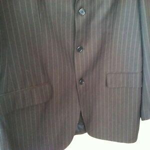 BARNEYS Men Jacket Coat Suit Blazer Gray Pinstripe 100% Wool 42 L Vaticana ITALY