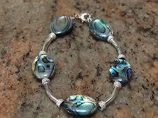 Handmade One of a Kind Sterling Silver 925 and Paua Shell Bracelet 7.5 ""