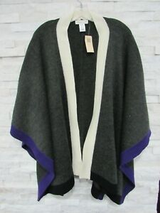 NWT Coldwater Creek Color Block Border Wool Blend Ruana Poncho Sweater OS M L XL