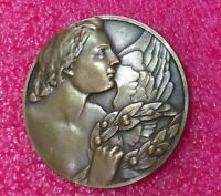 1924 Olympic Paris Angel Splendid Art Deco bronze medal 50mm 57gr
