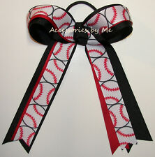 Softball Ponytail Holder Bow Red White Black Ribbon Kids Baseball Hair Streamer