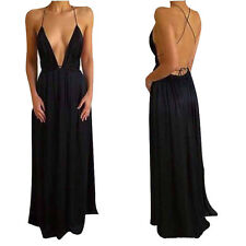 M Black Boho Long Evening Party Cocktail Ladies Casual Beach Dress Sundress