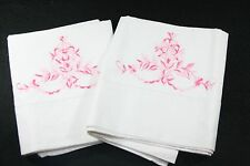Vintage Pair of Pillowcases White and Pink Floral Embroidered Shabby Chic
