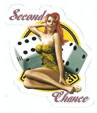 SECOND CHANCE NOSE ART PIN UP GIRL WORLD WAR 2    Sticker Decal