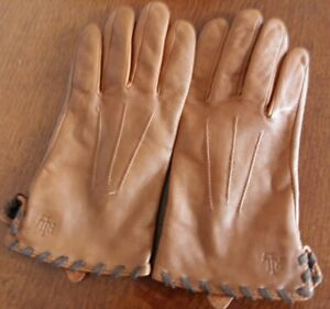 Ralph Lauren Ladies Brown Leather Gloves (Lined) Size L