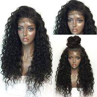 Bresilienne Nature Noir Femmes Perruque Long Frisée Ondulé Lace Front Cheveux