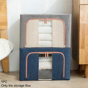 Folding Steel Framework Capacity Cotton Linen Zipper Clothes Storage Box