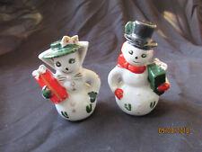Vintage Estate Set Salt & Pepper Shakers Ceramic Mr & Mrs Snowman Handpainted