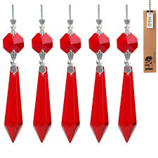 10 Red Chandelier Glass Crystals Lamp Prisms Parts Hanging Drops Pendants 55mm