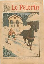 Ski joëring  Skijöring skis attelé horse Cheval Norway Norvège 1930
