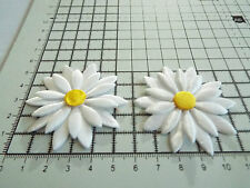 2pcs, Satin White, Big Applique- Daisy Motif,Trimmings,Wedding, 5.5 x 5.5cm