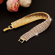 Gold Wedding Crystal Bracelet Swarovski Elements Bangle Party TENNIS