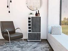 White Bar Storage Cabinet Cupboard 2 Doors In Grey Oak Effect With 5 Bottle Rack