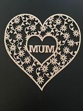 Wooden Plaque Mum Flowers Craft Mothers Day Birthday Gift MDF Heart Shape