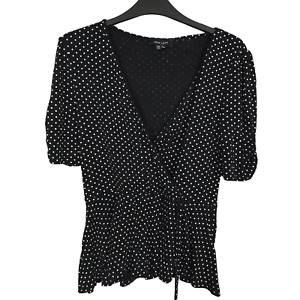 New Look Size 10 Black & White Polka Dot Wrap Stretch Short Sleeve Blouse