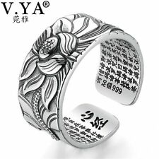 100 % Real 999 Pure Silver Jewelry Lotus Flower Open Ring For Men Male Fashion