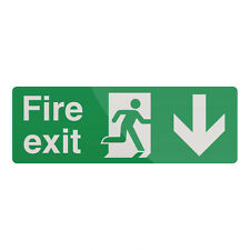 Fire Exit Arrow Sign 400 x 150mm Rigid Down Signage Safety Signs