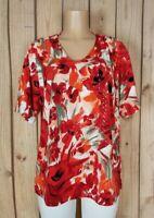 BON WORTH Womens Size Medium Short Sleeve Shirt Vneck Squint Floral Print Top