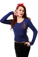 Blue Anchor and Roses Gothic Emo Nautical Rockabilly Cardigan By Banned Apparel