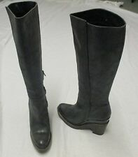 Hoss Intropia - Grey Leather Knee High Boots - 40  /  7