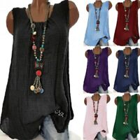 Plus Size Women Sleeveless Summer Tank Tops Vest Casual Baggy Blouse Tunic Shirt
