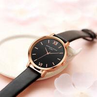 Fashion Women Mens Stainless Steel Leather Retro Roman Quartz Analog Wrist Watch