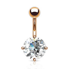Belly Navel Ring w/ Extra Large Prong Set Round 10mm CZ - Rose Gold Plated 14G