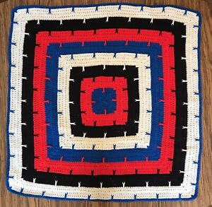 """Hand Crocheted Afghan Lap Blanket 36"""" Square Brand Bold Colorblock"""