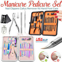 15PCS Pedicure / Manicure Set Nail Clippers Cleaner Cuticle Grooming Kits W/Case