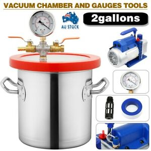 New 2 Gallon Vacuum Chamber and 3CFM Single Stage Pump Degassing Silicone Kit AU