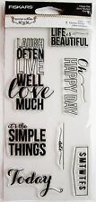 Happy Day Teresa Collins Card Sentiments Clear Acrylic Stamp Set Fiskars Stamps