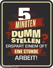 Blechschild 17 x 22, 5 Minuten dumm stellen, Werbeschild RAHMENLOS® Art. 3756