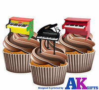 PRECUT Toy Piano Themed 12 Edible Cupcake Toppers Cake Decorations Birthday