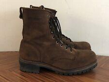 Mens Wolverine Brown Suede Steel Toe Waterproof Safety Logger Work Boot Size 13
