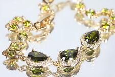 Vintage 3 Drop Design Created Peridot Bracelet 15.5 - 18cm / 6.10 - 7.08 inches