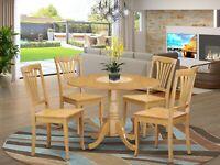 "5pc dinette set 42"" round drop leaf kitchen pedestal table + 4 wood chairs oak"