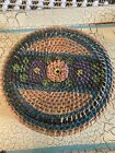 primitive woven hand-painted sewing basket
