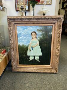 Large Folk Art Portrait Painting Young Girl In Plaster Frame 'Charlotte'