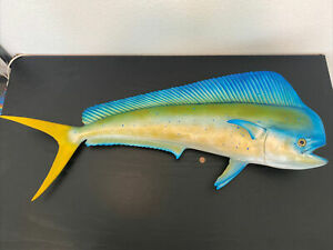 "40"" Wall Mount Fiberglass Taxidermy Replica Hawaiian Bull Mahi Mahi Dolphin Fish"