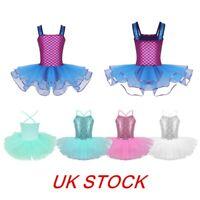 UK Kids Girls Shiny Mermaid Ballet Dance Tutu Dress Gymnastics Leotard Costumes