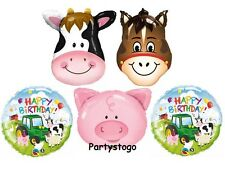 FARM ANIMALS BIRTHDAY PARTY BALLOONS BOUQUET DECORATIONS COW PIG HORSE PONY