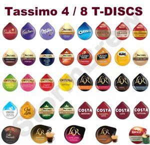 4 / 8 TASSIMO PODS 45+ BLENDS. COFFEE, LATTE HOT CHOCOLATE TEA CAPSULES T-DISCS