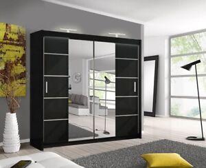 Oslo Black Modern Mirror sliding door wardrobe with LED