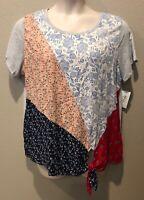 (NWT) Style&Co Women's Scarf Sensation Side Tie Scoop Neck Top Plus Sizes 1X/2X